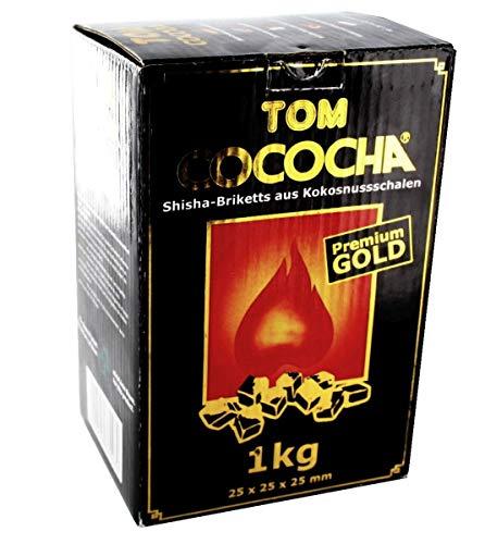 4x 1kg Kohle Natur in Tom Cococha Gold für Shisha und Wasserpfeife (4kg...