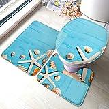 XHYYY - Juego de alfombrillas de baño antideslizantes para baño, diseño de concha de mar, color azul