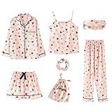 Conjunto De 7 Piezas De Pijamas Elegantes para Mujer para Primavera, Verano Y OtoñO,...