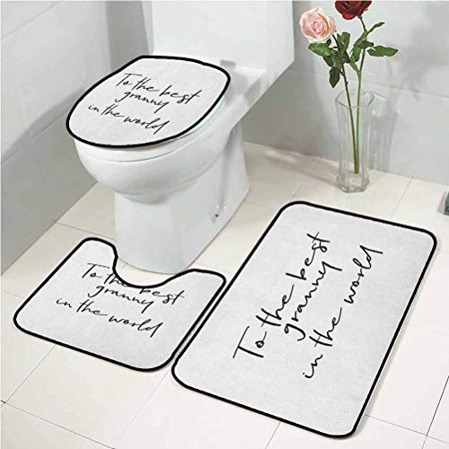 Grandma u Shaped Toilet mat Brush Calligraphy Hand Drawn Quote The Best Granny in The World Monochrome Design for Bathroom, Tub, Shower Black White