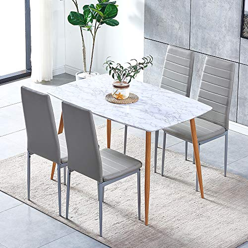 Huisen Furniture White Marble-like Pattern Dining Table with 4 Kitchen Chairs Grey Faux Leather, Modern 5 Pieces Wood Dining Table Metal Legs with Chairs Set of 4 for Small Apartment
