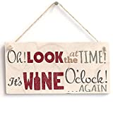 Meijiafei 'Oh! Look at The Time It's Wine O'Clock! Again' Home Decor Sign - Door Sign/Plaque 10'x5'
