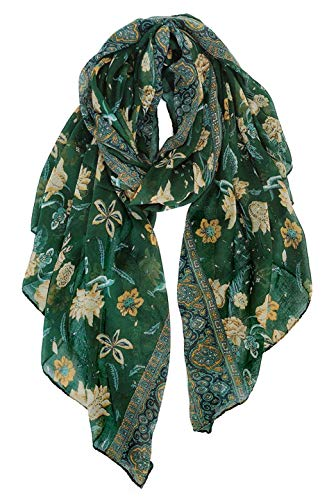 GERINLY Lightweight Scarves Fashion Flowers Print Shawl Wrap Scarf For Women (Green)