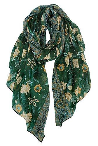 GERINLY bufanda ligera con estampado de flores para mujer - - Medium
