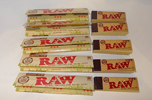 5 confezioni di Raw Biologico Canapa Cartine King Size Sottile e punte