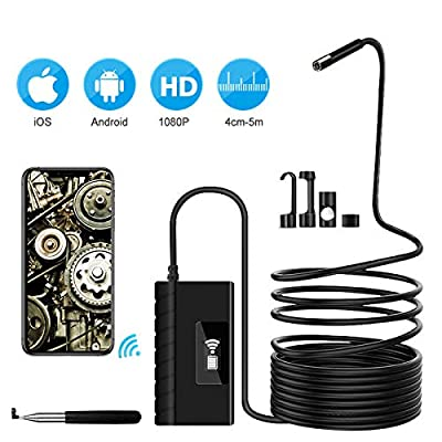 Inspection Camera, Wireless Endoscope 2.0 MP HD 5.5mm Snake Camera for Android, iOS, Tablet (5.5mm 11.5ft)