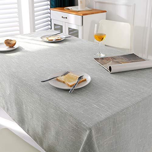 ENCOFT Mantel para Mesa Rectangular en Algodón y Lino, Cubierta de Mesa Antimanchas 50% Impermeable, Mantel para Comedor Mesa Color Sólido, Gris Claro 135x180cm
