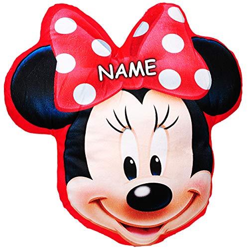 alles-meine.de GmbH Plüsch Kissen / Schmusekissen / Sitzkissen -  Disney Minnie Mouse  - inkl. Name _ Kuschelkissen - 35 cm * 37 cm - Figur Form - groß - sehr weich - für Mädch..