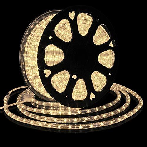 Forever Speed 50M Tubo de LED Manguera LED Luces de Tira de Manguera Exterior e Interior Blanco Cálido,Tiras LED Adecuado para Decoración e Iluminación Navidad, Halloween, Boda,Fiesta, Hotel, Jardín