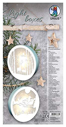 URSUS 21500002 - Light Boxes Reindeer and Santa Clause, Material für 2 beleuchtete, weihnachtliche Fensterbilder, filigrane Motive gelasert, Durchmesser je ca. 15,3 cm, inklusive LED Licht