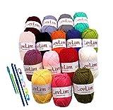 LovLim Crochet Yarn kit, 16 Soft Cotton Yarn Skeins for Crochet and Knitting, Free Crochet/Amigurumi Patterns, 1000+ Yards Craft DK Yarn Perfect Starter Kit