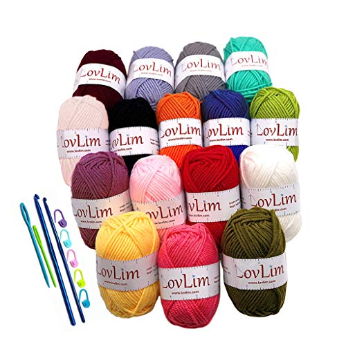 LovLim Crochet Yarn kit, 16 Soft Cotton Yarn Skeins for Crochet and Knitting, Free Crochet/Amigurumi Patterns, 1000+ Yards Craft DK Yarn Perfect Starter Kit