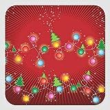 Pegatinas cuadradas con diseño de árbol X'Mas con luces de árbol navideñas de 2 x 5 pulgadas, etiquetas de vinilo para negocios, bodas, fiestas de cumpleaños, regalos, set de 30
