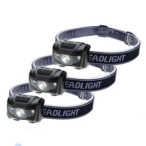 HappyOrange 3-Pack Waterproof LED Headlamp (White and Red Lights), 4 Light Modes Lightweight Headlight for Running, Hiking, Hunting, Fishing, Camping
