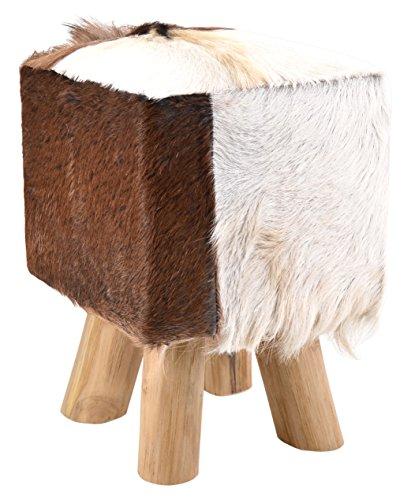 Moycor 9490102 - Sgabello quadrato in pelle di capra con 4 gambe, 30x30x45