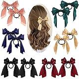 12pcs Arc Attache Cheveux Cravate de Corde de Cheveux Noeud à Ruban Porte Queue de Cheval pour Fille (Noir+Rose+Vert Foncé+Bleu+Vin Rouge+ Beige)