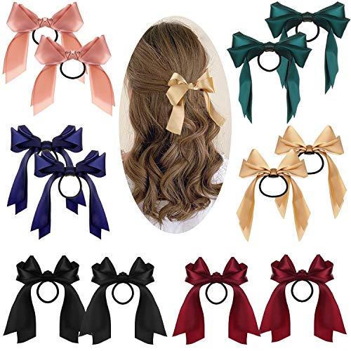 12 Stück Bowknot Haar Haargummi Scrunchies Haarseil Damen Elastische Haarbänder mode Haar Band lange Band Bogen Pferdeschwanz Haarschmuck für Frauen Mädchen