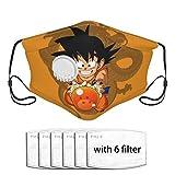VTYOSQ Dragon Ball Dragon Ball Z Son Goku Kid Goku Anime Face Bandanas reutilizables a prueba de polvo con válvula de respiración y filtro de carbón activado