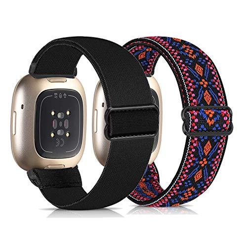 Zoholl Compatible con Fitbit Versa 3 correa/Fitbit Sense, correa de repuesto deportiva elástica transpirable para mujeres y hombres para Fitbit Versa 3 y Fitbit Sense para mujeres y hombres