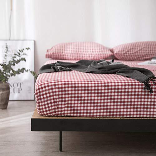 Transpirable Sábana Bajera Protectora de,Funda de cama individual de algodón lavado, colchón de celosía de color sólido, adecuado para estudiantes jóvenes de tamaño doble King-Red_1_200 * 220cm
