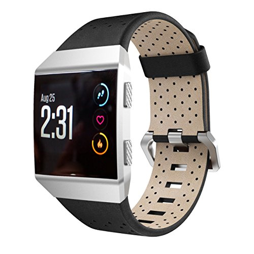 Angersi Bracelet Compatible avec Fitbit Ionic Bracelet Men Women, Breathable Cuir véritable Bracelets Replacement Accessories WristBracelet Compatible avec Fitbit Ionic Smart Watch
