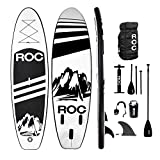 Roc Inflatable Stand Up Paddle Boards W Free Premium SUP Accessories & Backpack, Non-Slip Deck Bonus Waterproof Bag, Leash, Paddle and Hand Pump Youth & Adult (Black)