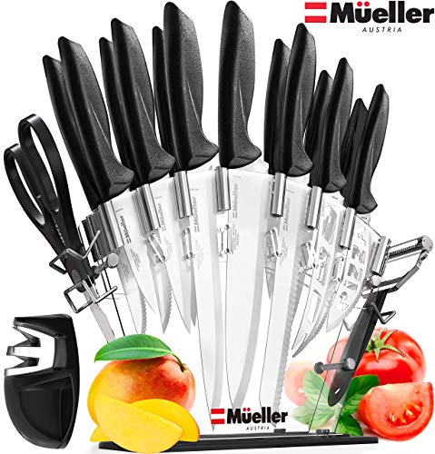 Stainless Steel Knife Set with Block - 17 Piece High Carbon Carving Set with Knife Sharpener, Bonus Peeler, Scissors, Cheese, Pizza Knife and Stand - by Mueller Austria