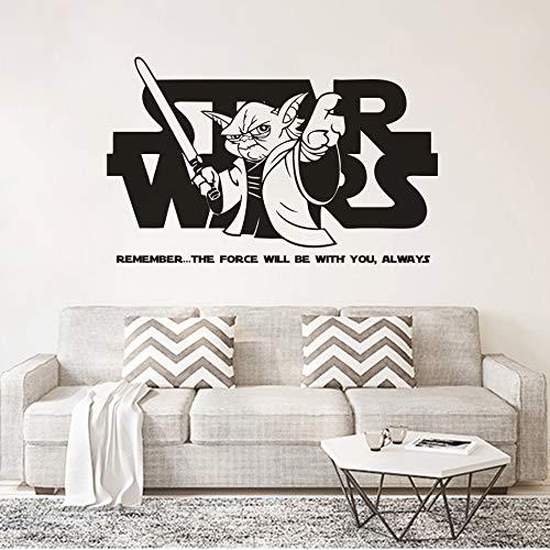 zqyjhkou Thema Wohnkultur Hot Movie Wall Poster Jedi Manster Yoda Spruch Wandtattoo Stars Wars Design Wand Vinyl Aufkleber 57x36 cm