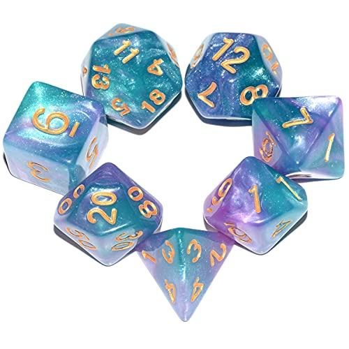Glitter DND Dice Set| Green Mix Purple Galaxy Polyhedral Dice Set for Dungeons and Dragons Pathfinder RPG Board Game