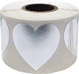 Metallic Silver Heart Stickers Valentine's Day Crafting Scrapbooking 1.5 Inch 500 Adhesive Stickers