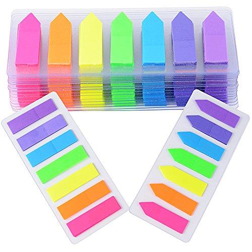 2800 pz Segnapagina Adesivi Colorati Indice Bandiere FrecciaLinguetteScrivibile Etichette Marcatore Segnalibri Note in 7 colori 2 Formati(2 Stili)