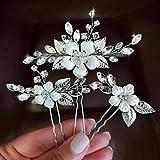 Simsly Braut Hochzeit Blume Haarnadeln Silber Haarspangen Kristall Braut Kopfschmuck Haarschmuck Perle für Frauen und Mädchen
