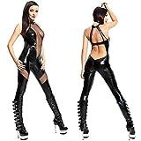 YX Sexy Catsuit Leder Wetlook DessousSprunganzug Seite hohl Nachtclub Pole Dance DS Anzug Schwarze Motorradbekleidung Damenkleider Leggings