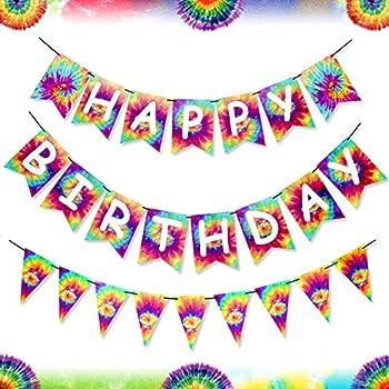 Tie Dye Birthday Banner Card- Happy Birthday Pennant Tie Dye Banners Retro 60s 70s Theme Tie Dye Party Art Decoration Hippie Carnival Baby Shower Birthday Party Supplies