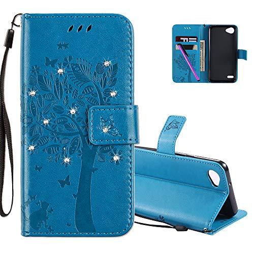 COTDINFOR LG Q6 Hülle für Mädchen Elegant Retro Premium PU Lederhülle Handy Tasche mit Magnet Standfunktion Schutz Etui für LG Q6 / G6 Mini Blue Wishing Tree with Diamond KT.