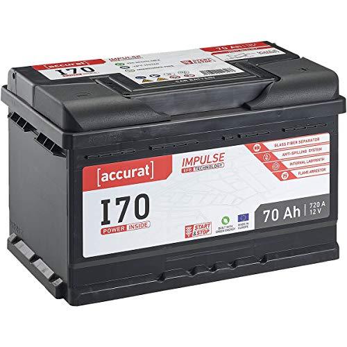 Accurat 12V Autobatterie 70Ah 720A EFB Impulse I70 Starterbatterie für Fahrzeuge mit hohem Energiebedarf, Start-Stop Automatik, wartungsfrei