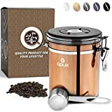 OPUX Coffee Canister   Stainless Steel Airtight Coffee Container with Scoop   Coffee Storage for Coffee Beans, Ground, Tea with Co2 Valve and Date Tracker   Coffee Jar (16 oz Copper)