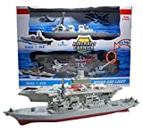 Xplore Toys Aircraft Carrier Toy,with 5 Aircrafts Includes Destroyer Ship