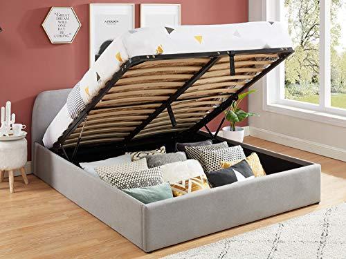 Lit Coffre scandinave 140x190 Gris Clair avec tête de lit + sommier à Lattes - Collection Lena.