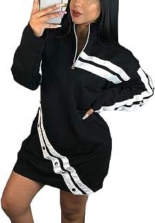 Keaac 女性カジュアルロングスリーブ高ネックコントラストカラージップショートドレス