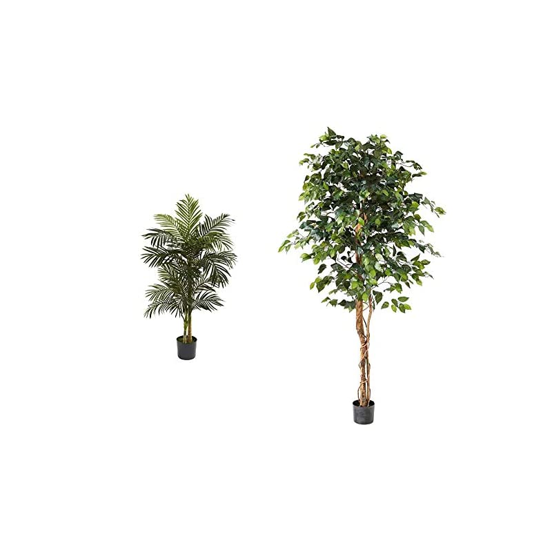 silk flower arrangements nearly natural 5ft. golden cane palm artificial tree, green & 6ft. ficus artificial trees, 72in, green