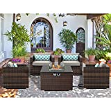 SUNBURY Outdoor Furniture 5-Piece Mottle-Wood Brown Wicker Chairs Propane Fire Pit w Thick Cushion w 32-inch 40,000 BTU Square Rattan Fire Table, Fits 20 gal Tank Outside w Wind Glass Guard