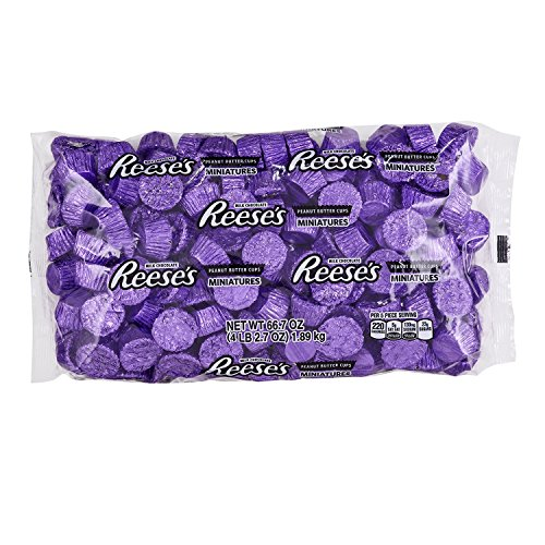 REESE'S Peanut Butter Cups Miniatures, Halloween Candy, Chocolate Candy, Purple, 66.7 Ounce Bulk Candy