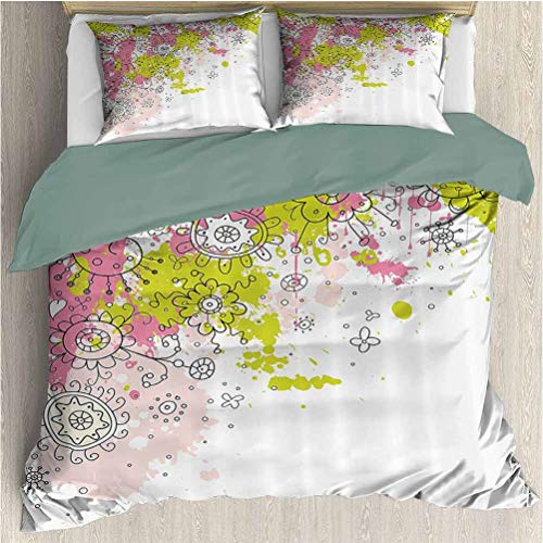 Floral Bedding Sets King, Quilt 3 Piece Bedding Set White Backdrop Abstract Sketchy Image with Flower Details Art (1 Duvet Cover + 2 Pillowcases) Hot Pink Light Green and Black