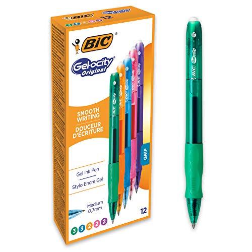 BIC Gel-ocity Original - Bolígrafos retráctiles de gel (0.7 mm), caja de 12 unidades, colores surtidos