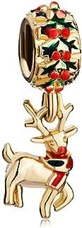 SexyMandala Christmas Rudolph Reindeer Gold Plated Xmas Lucky Animal Charms for Pandora Bracelet