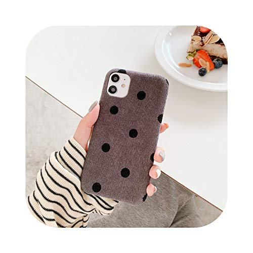 Funda de tela de lunares para iPhone 11 7 8 Plus X Lindo Pana Otoño Cubierta Para iPhone 11 Pro Max XR SE 2020 XS Caso Suave Marrón Para 11 Pro
