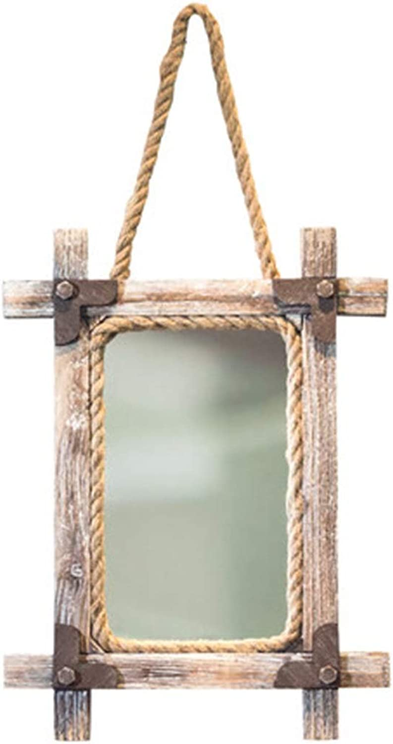 Mirrors Mirror Simple Makeup Mirror Wall Hanging Decoration HD Vanity Mirror Nordic Style Princess Mirror Punch-Free Glass Mirror (color   Brown, Size   86  42  5cm)