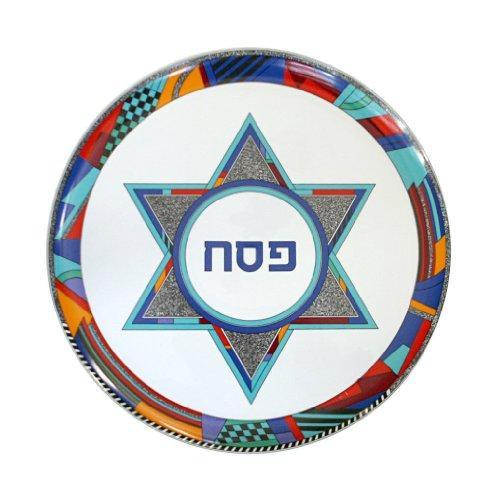 "Passover Pesach Seder Plate, Ceramic Colorful Star of David Design. Size: 12.5"" Diameter. Made In ISRAEL."