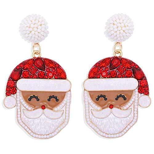 OUHUI Pendientes de la Serie de Navidad Pendientes de Diamantes Imitados Creativos Santa Claus Pendientes Hechos a Mano Señoras Orejas Anillos Pendientes de Banquete Retro/C